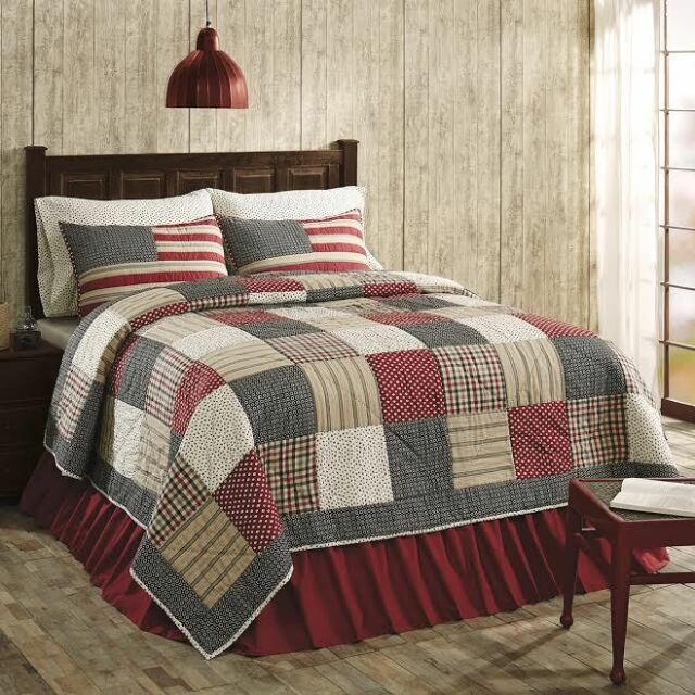 Victory Americana Queen Size 3 Pc Quilt Set All Cotton Quilt Shams