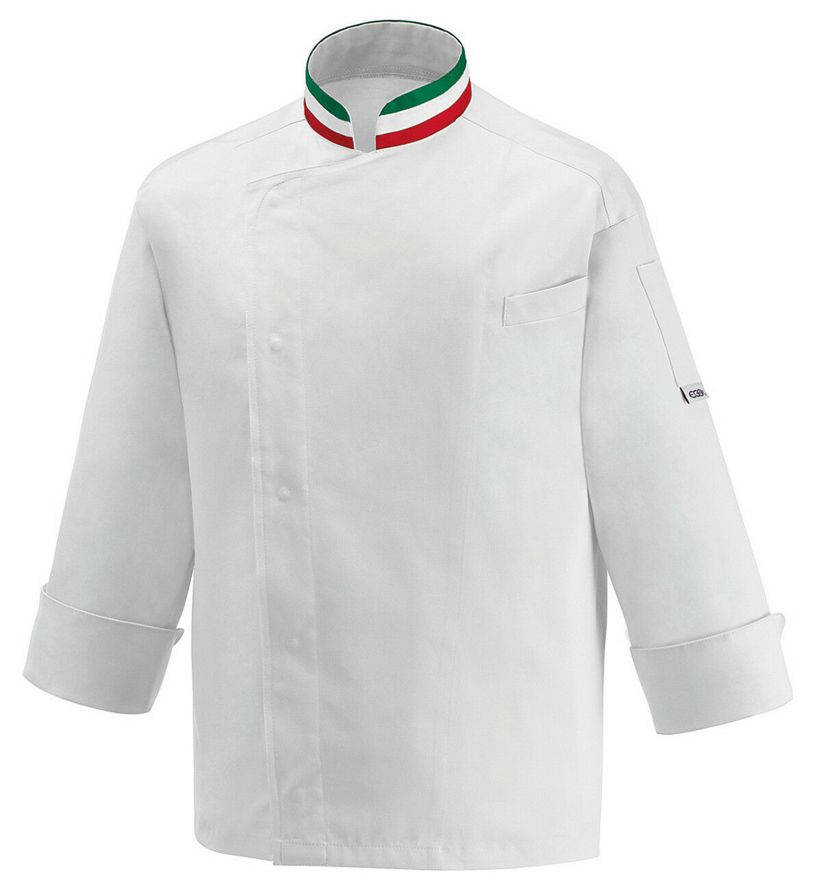 GIACCA CUOCO BANDIERA COLLETTO ITALIA EGOCHEF MADE IN ITALY FLAG CHEF TRIcolor