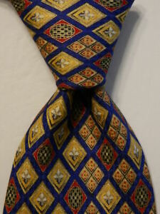 VITALIANO-PANCALDI-Men-039-s-100-Silk-Necktie-ITALY-Luxury-Blue-Yellow-Red-Gray-EUC