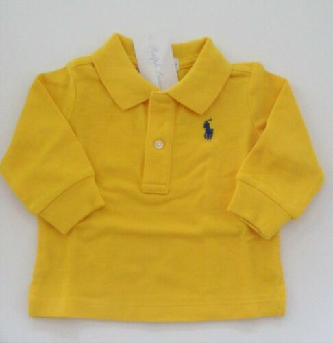 NWT Ralph Lauren Infant Boys L//S Classic Solid Mesh Polo Shirt 3m 6m 9m NEW $30