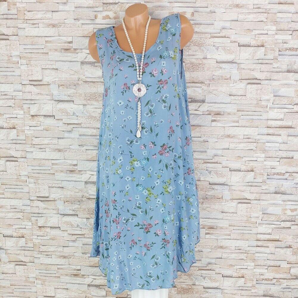 MADE IN ITALY Hängerchen Kleid Sommerkleid Strandkleid Blümchen marine 38-46