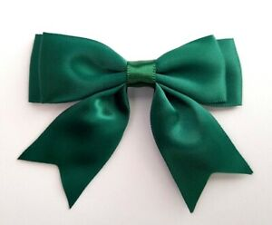 Dark-Green-Large-25mm-Satin-Ribbon-Ready-Made-Double-Craft-Bows-Pack-of-5