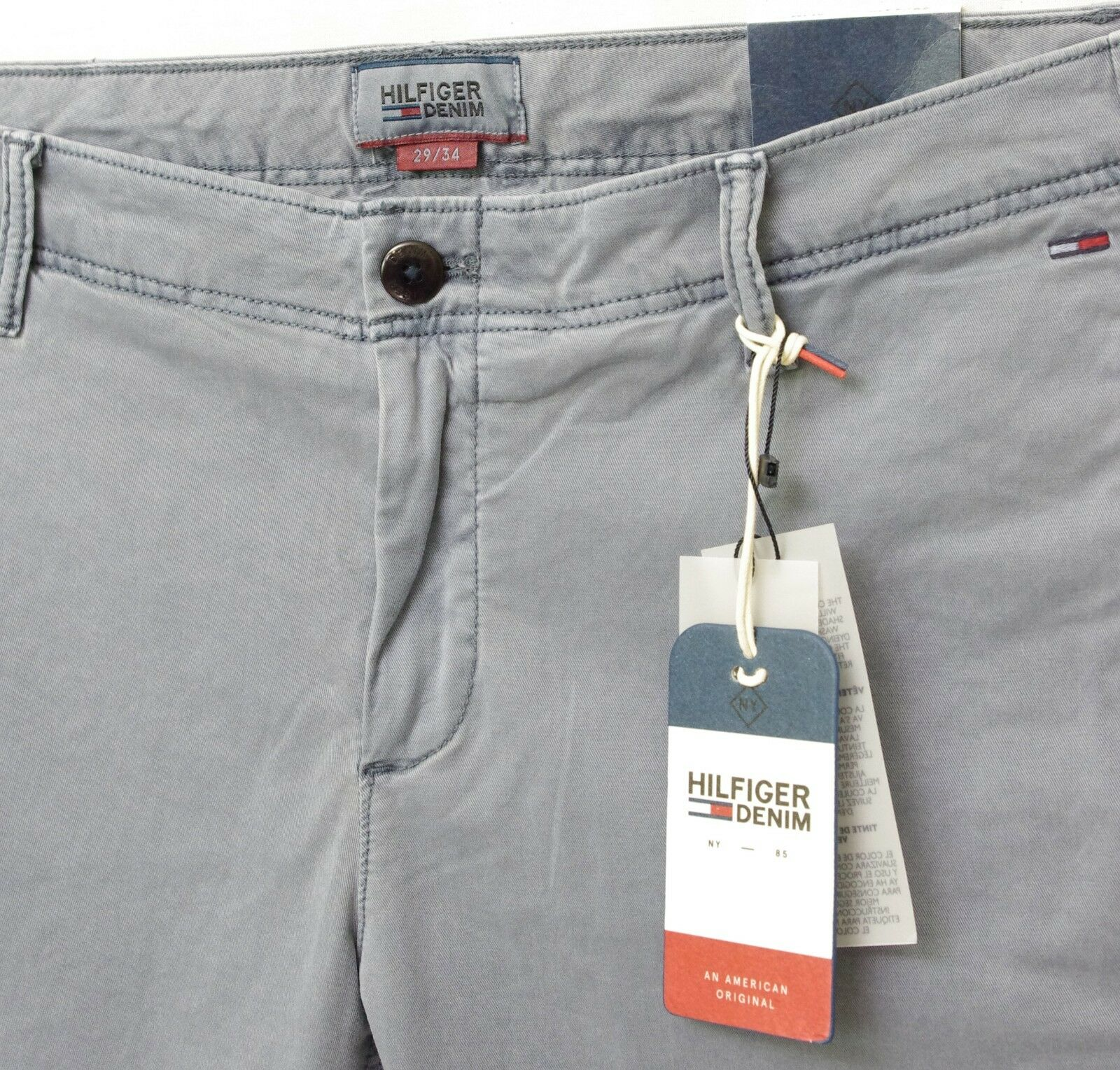 f942cc709148 TOMMY HILFIGER pantalon Chino gris bleu homme Slim Fit Stretch ...