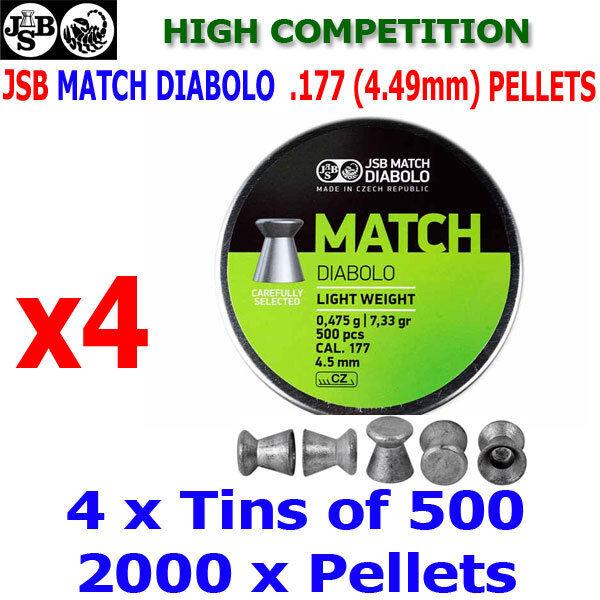 JSB MATCH DIABOLO .177 4.49mm Airgun Pellets 4 (latas) x500 un. (Alta Competencia)