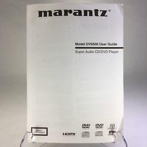 Original-MARANTZ-DV6600-Super-Audio-CD-DVD-Player-Owner-s-Manual