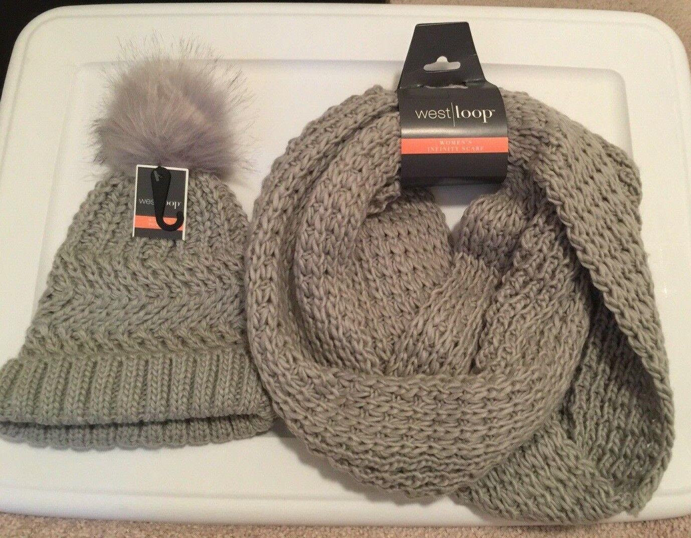 Womens Gray Pom Pom Hat & Infinity Scarf Knit Set Acrylic Faux Fur Rolled Bottom