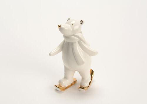 Statue d/'ours polaire avec skis en céramique blanche Hauteur 9 centimètres
