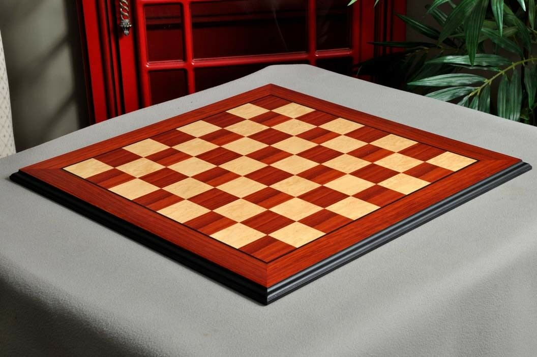 Coral Ash Root & Bird's Eye Maple Standard Traditional Chess Board - 2.5