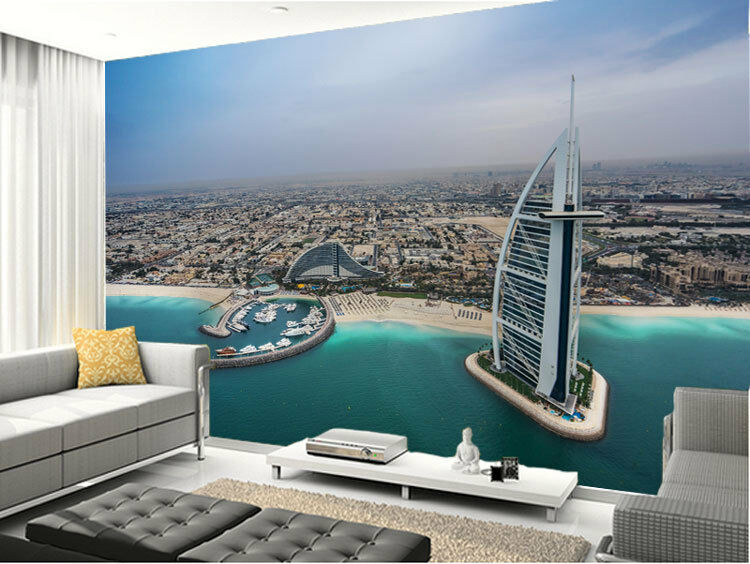 Burj Al Arab Dubai Sea Coast 3D Full Wall Mural Photo Wallpaper Print Home Decor