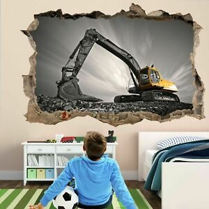 Excavator-Construction-Equipment-Machine-Wall-Art-Stickers-Mural-Decal-Kids-EK6