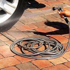 304 Stainless Steel Metal Garden Hose Lightweight Kink 25ft eBay