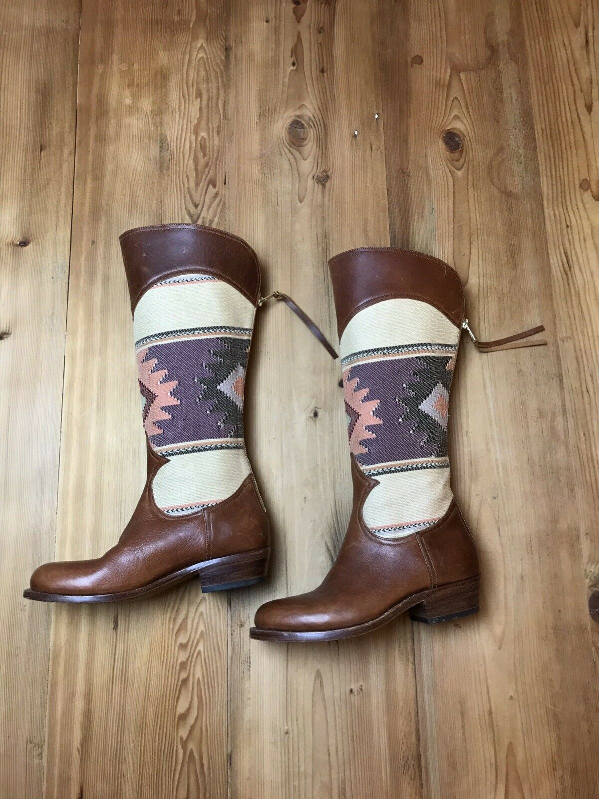 damen's Uxibal braun Guatemalan Guatemalan Guatemalan Leather and Hand Woven Fabric Tall Stiefel Größe 8M 2bde56