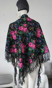 Écharpe Triangle Foulard 80s True Vintage 205x130 Folklore écharpe Roses Oliv-afficher Le Titre D'origine RafraîChissant Et Enrichissant La Salive