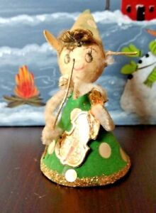 Pipe-Cleaner-Christmas-Figure-Ornament-Musician-Girl-Mid-Century-Vintage-Japan
