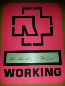 Rammstein-Tour-AAA-Working-Pass-VIP-Ticket-Karte-sehr-selten-10-12-2004-Rosa