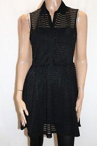 Hot-Options-Brand-Black-Sheer-Stripe-Sleeveless-Shirt-Dress-Size-12-BNWT-TR68