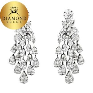 La Foto Se Está Cargando Diamond Earring Dangle Pear Marquise Shape