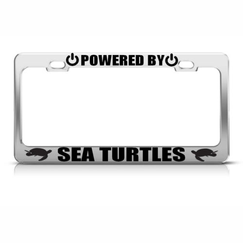 POWERED BY SEA TURTLES Chrome License Plate Frame Tag Border