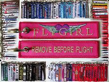 FLYGIRL flight attendant tag keychain keyring baggage label remove before flight