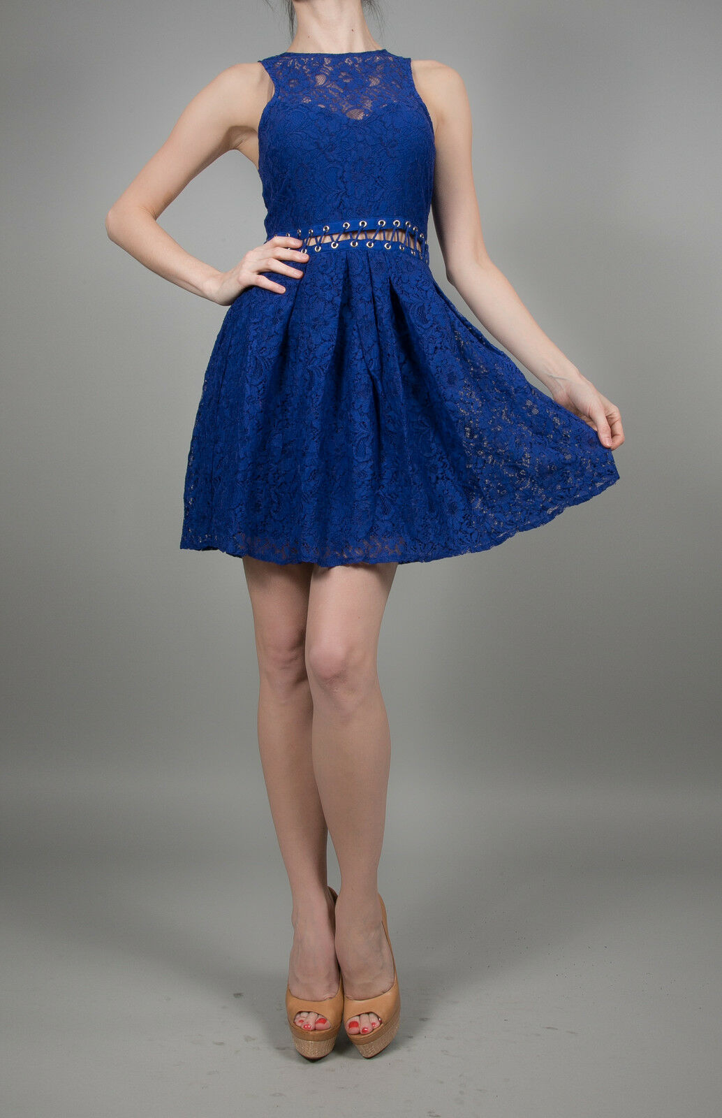 Style Stalker Bloc Party Stitched-Waist Dress in Electric bluee