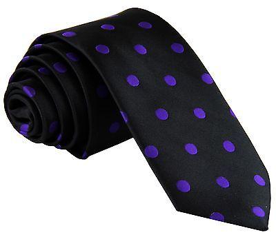 "New Men's Polyester Woven 2.5"" Skinny Slim Necktie Prom Polka Dots Black Purple"