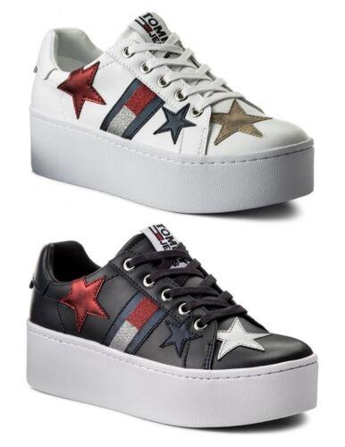 Donna Casual Hilfiger Sneaker Zeppa Scarpe Pelle Tommy Sparkle Bianco Jeans xPUYXqX