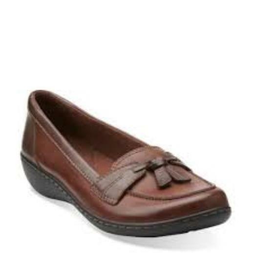 Clarks Women's Ashland Bubble Brown Leather Slip On shoes 26067330