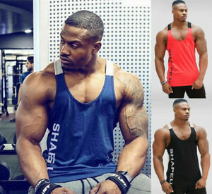 New-Men-039-s-Muscle-Gym-Sleeveless-Tank-Top-T-Shirt-Bodybuilding-Sport-Fitness-Vest