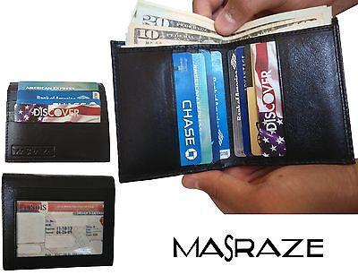 New Mens Genuine Leather Bifold 12 Credit Card Holder Money Wallet Black Masraze