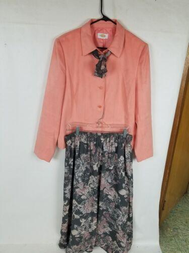 Suit Office career Talbots L Floral Size Women's Skirk Orange Yx1tvwtR