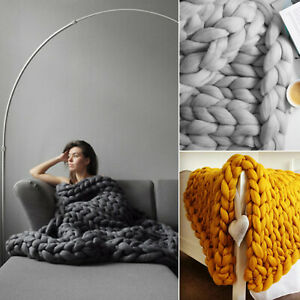 Wool-Chunky-Knitted-Thick-Blanket-Hands-Bulky-Knit-Throw-Sofa-Blanket-120-by-150
