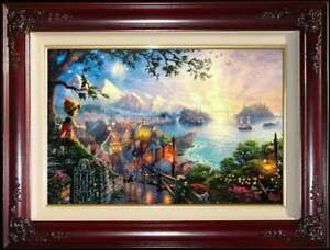 Thomas-Kinkade-DBL-SIGNED-Pinocchio-Wishes-Upon-a-Star-18x27-SN-Disney-Canvas