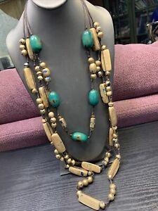 Vintage-Bohemian-Exotic-Long-Wood-Beaded-Multi-Strand-Necklace-40-Turquoise