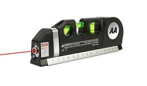 """AA Multi-Purpose Laser Level - With 8ft/2.5M tape measure and 15cm/6"""" ruler"""
