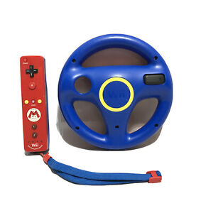 Nintendo Mario Wii Motion Plus Remote Controller and Wheel Attachment Bundle Red