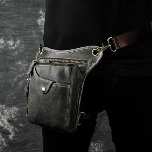Real Leather Men Crossbody Bag Fashion Waist Belt Pack Leg Drop Bag Phone Pouch