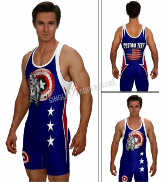 All American Superhero powerlifting singlet in navy, includes custom text,