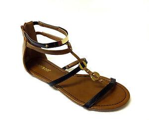 3cd6461976 BAMBOO Women Gladiator Sandal T-Strap Zipper Gold Accent Black Brown ...
