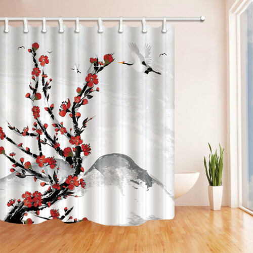 Japanese style Shower Curtain set cherry blossoms and cranes Home decor 71inch