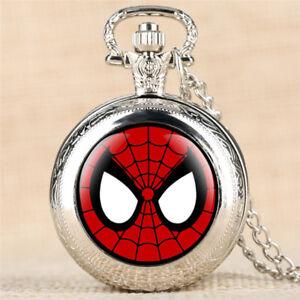 Antique-Retro-Pocket-Watch-Quartz-Vintage-Pendant-Necklace-Chain-Gift-Spiderman