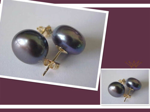 Hot 10-11 mm Tahitian AAA Black Pearl Stud Earrings 14k LK11K