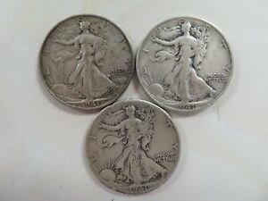 1941-P-amp-D-amp-S-Silver-Walking-Liberty-Half-Dollar-three-coin-set