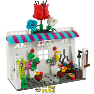LEGO-Flower-Shop-Florist-store-with-plants-and-flowers-over-200-pieces-NEW