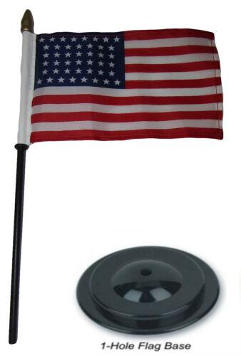 "44 Star USA Linear 4/""x6/"" Flag Desk Set Wood Table Stick Staff Black Base"