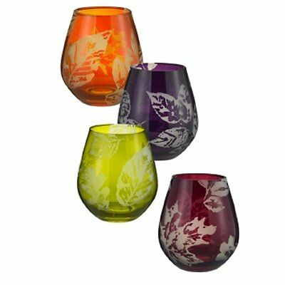 AUTUMN LEAVES Fall Stemless Wine Glasses, Etched, 16 oz, Grasslands Road
