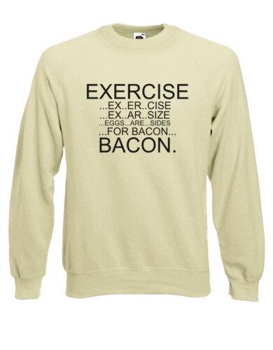 Esercizio uova per Bacon DIVERTENTE Lazy PALESTRA UNISEX Maglione Pullover Pullover AJ16