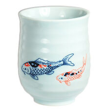 "Japanese 4""H Porcelain Yunomi Tea Cup Sushi Mug SEIJINISHIKI KOI Fish/Made Japan"