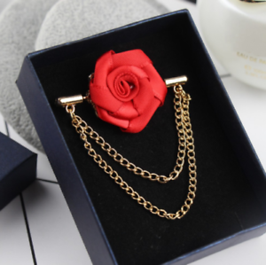 b9bff9af62eda Details about Mens Suit Accessories Lapel Flower Brooch Pin Rose for  Wedding Boutonniere Stick