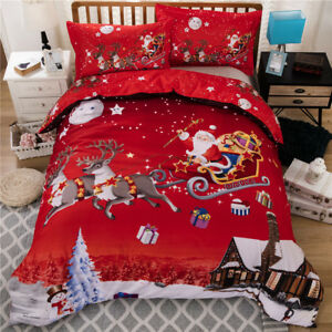 Merry Christmas Bedding Sets Queen Red Xmas Duvet Cover Bedding