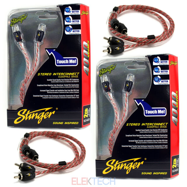 Three Stinger SI423 RCA Interconnect Audio 3 ft Cable for 6 Channels Install 3